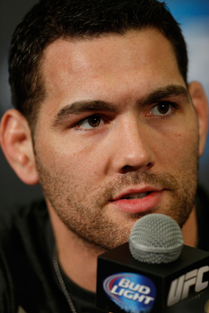 LAS VEGAS, NV - DECEMBER 26:  Chris Weidman interacts with media during the UFC 168 pre-fight press conference at the MGM Grand Hotel/Casino on December 26, 2013 in Las Vegas, Nevada. (Photo by Josh Hedges/Zuffa LLC/Zuffa LLC via Getty Images)