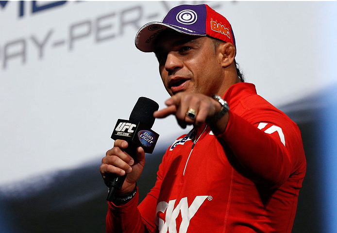 LAS VEGAS, NV - DECEMBER 27:  Vitor Belfort interacts with fans during a Q&A session before the UFC 168 weigh-in at the MGM Grand Garden Arena on December 27, 2013 in Las Vegas, Nevada. (Photo by Josh Hedges/Zuffa LLC/Zuffa LLC via Getty Images)