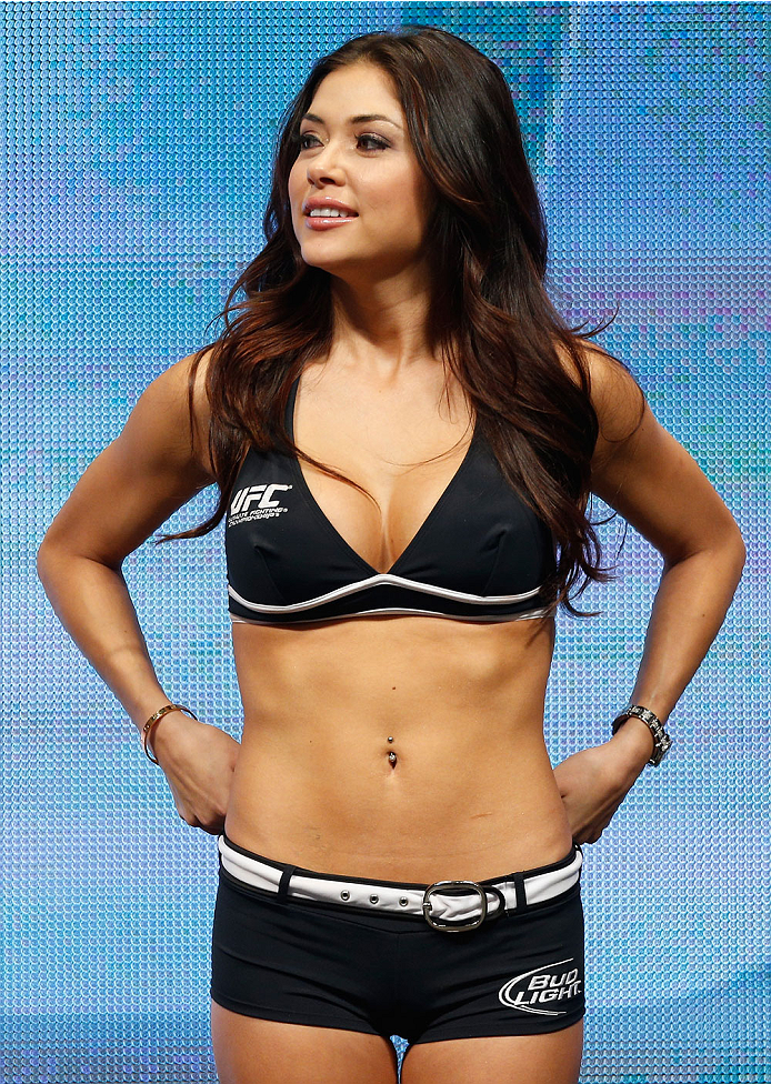 LAS VEGAS, NV - DECEMBER 27:  UFC Octagon Girl Arianny Celeste stands on stage during the UFC 168 weigh-in at the MGM Grand Garden Arena on December 27, 2013 in Las Vegas, Nevada. (Photo by Josh Hedges/Zuffa LLC/Zuffa LLC via Getty Images)