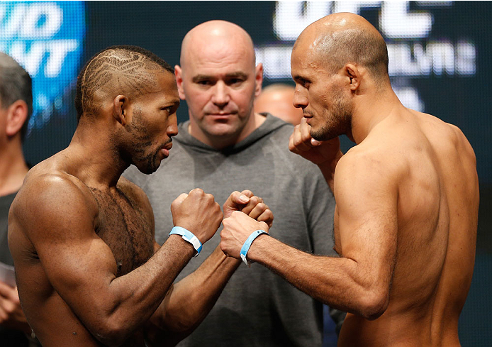 LAS VEGAS, NV - DECEMBER 27:  (L-R) Opponents John Howard and Siyar Bahadurzada face off during the UFC 168 weigh-in at the MGM Grand Garden Arena on December 27, 2013 in Las Vegas, Nevada. (Photo by Josh Hedges/Zuffa LLC/Zuffa LLC via Getty Images)