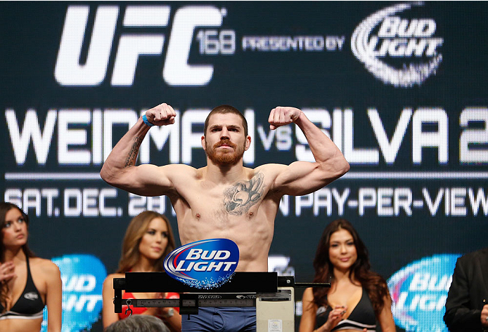LAS VEGAS, NV - DECEMBER 27:  Jim Miller weighs in during the UFC 168 weigh-in at the MGM Grand Garden Arena on December 27, 2013 in Las Vegas, Nevada. (Photo by Josh Hedges/Zuffa LLC/Zuffa LLC via Getty Images)