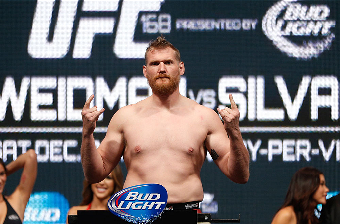 LAS VEGAS, NV - DECEMBER 27:  Josh Barnett weighs in during the UFC 168 weigh-in at the MGM Grand Garden Arena on December 27, 2013 in Las Vegas, Nevada. (Photo by Josh Hedges/Zuffa LLC/Zuffa LLC via Getty Images)