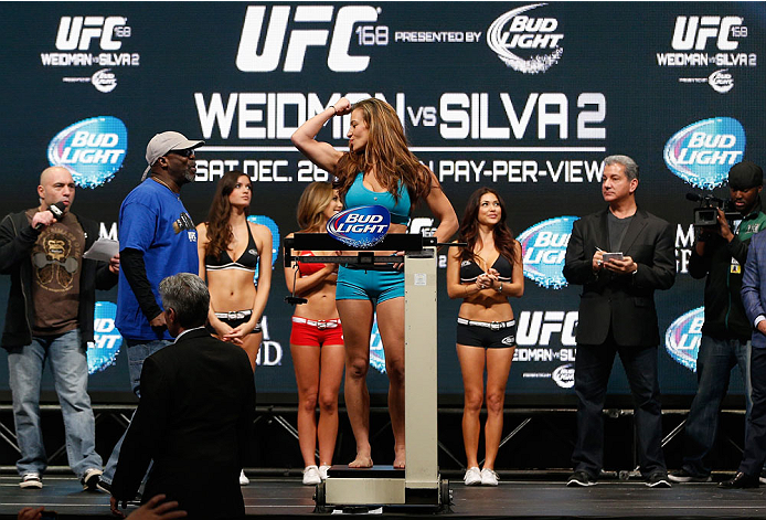LAS VEGAS, NV - DECEMBER 27:  Miesha Tate weighs in during the UFC 168 weigh-in at the MGM Grand Garden Arena on December 27, 2013 in Las Vegas, Nevada. (Photo by Josh Hedges/Zuffa LLC/Zuffa LLC via Getty Images)