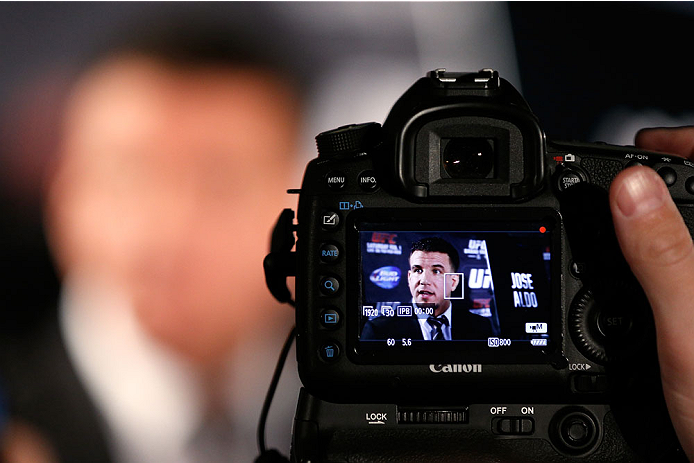 NEW YORK, NY - JANUARY 30:  Frank Mir interacts with media during the UFC 169 Ultimate Media Day at The Theater at Madison Square Garden on January 30, 2014 in New York City. (Photo by Josh Hedges/Zuffa LLC/Zuffa LLC via Getty Images)