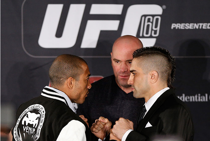 NEW YORK, NY - JANUARY 30:  (L-R) Opponents Jose Aldo and Ricardo Lamas face off during the UFC 169 Ultimate Media Day at The Theater at Madison Square Garden on January 30, 2014 in New York City. (Photo by Josh Hedges/Zuffa LLC/Zuffa LLC via Getty Images)