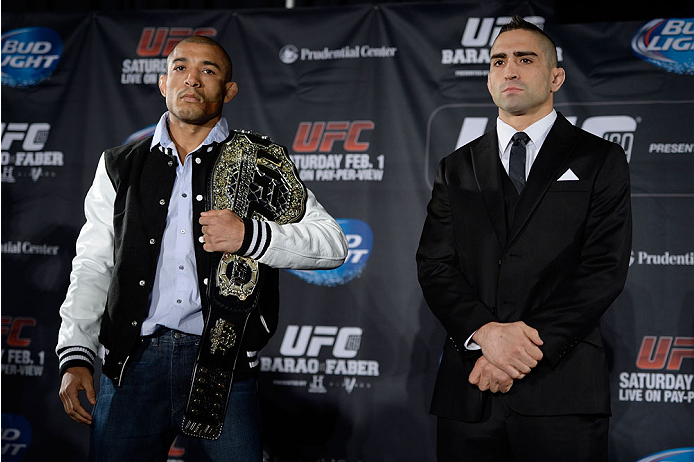 NEW YORK, NY - JANUARY 30:  (L-R) UFC Featherweight Champion Jose Aldo and Ricardo Lamas pose for the media during the UFC 169 Ultimate Media Day at The Theater at Madison Square Garden on January 30, 2014 in New York City. (Photo by Jeff Bottari/Zuffa LLC/Zuffa LLC via Getty Images)