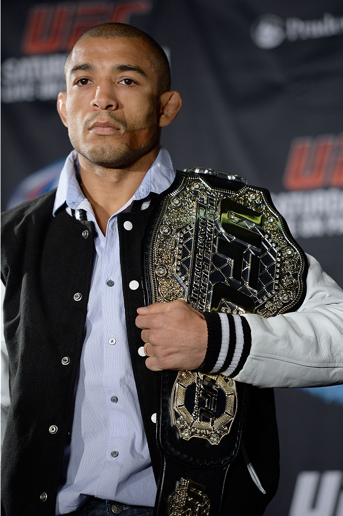 NEW YORK, NY - JANUARY 30:  UFC Featherweight Champion Jose Aldo poses for the media during the UFC 169 Ultimate Media Day at The Theater at Madison Square Garden on January 30, 2014 in New York City. (Photo by Jeff Bottari/Zuffa LLC/Zuffa LLC via Getty Images)