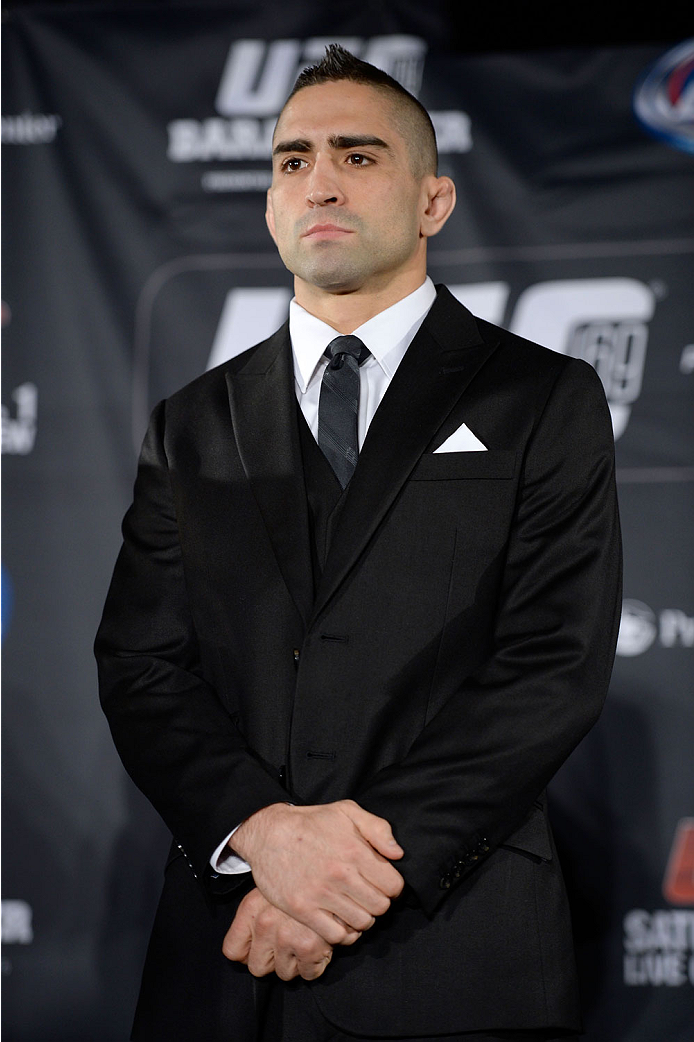 NEW YORK, NY - JANUARY 30: Ricardo Lamas poses for the media during the UFC 169 Ultimate Media Day at The Theater at Madison Square Garden on January 30, 2014 in New York City. (Photo by Jeff Bottari/Zuffa LLC/Zuffa LLC via Getty Images)