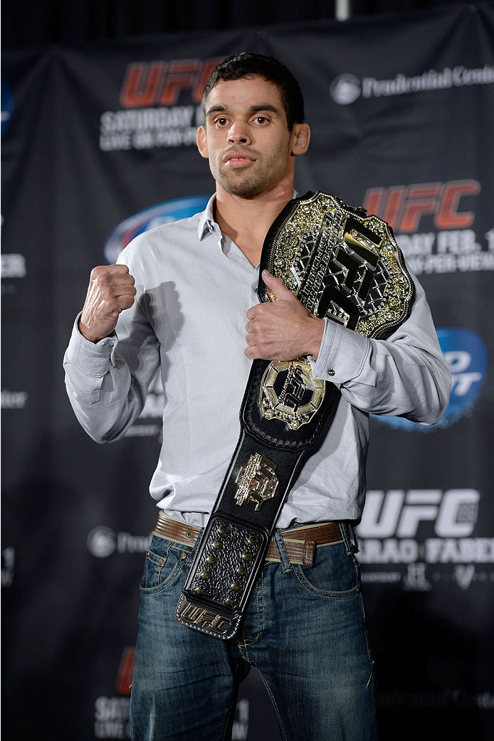 NEW YORK, NY - JANUARY 30:  UFC Bantamweight Champion Renan Barao poses for the media during the UFC 169 Ultimate Media Day at The Theater at Madison Square Garden on January 30, 2014 in New York City. (Photo by Jeff Bottari/Zuffa LLC/Zuffa LLC via Getty Images)