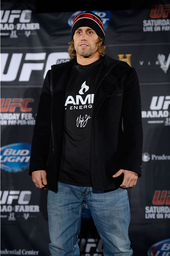 NEW YORK, NY - JANUARY 30:  Urijah Faber poses for the media during the UFC 169 Ultimate Media Day at The Theater at Madison Square Garden on January 30, 2014 in New York City. (Photo by Jeff Bottari/Zuffa LLC/Zuffa LLC via Getty Images)