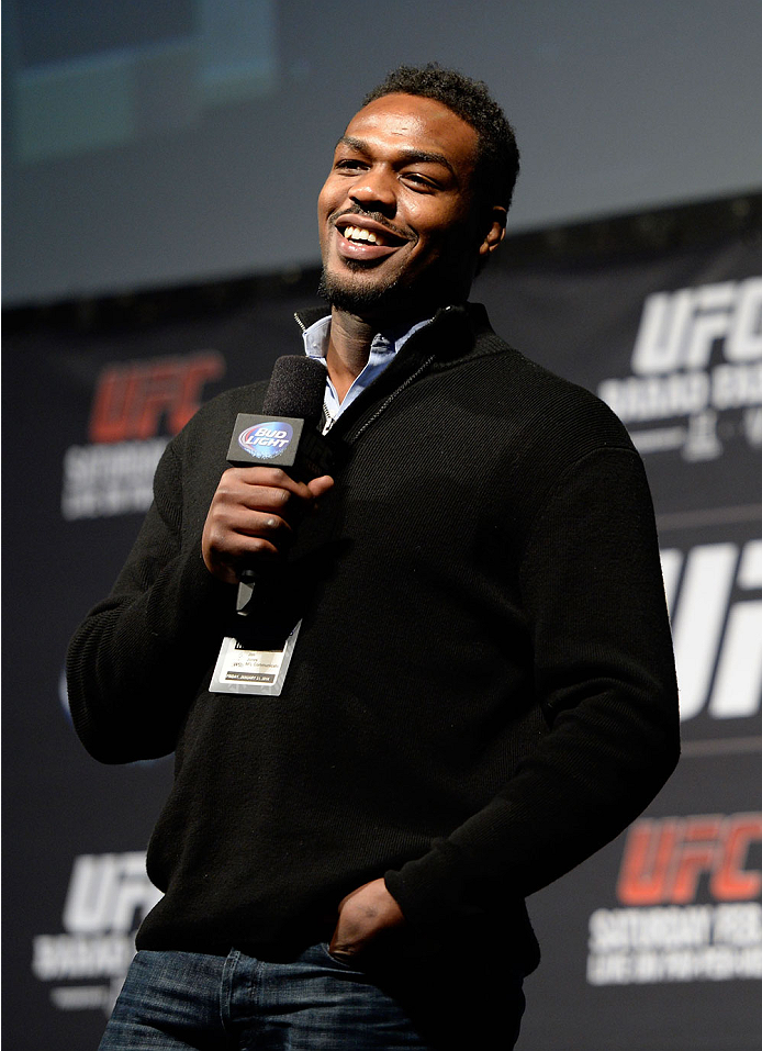 NEWARK, NJ - JANUARY 31:  UFC Light Heavyweight Champion Jon 'Bones' Jones interacts with the fans during a Q&A session before the UFC 169 weigh-in event at the Prudential Center on January 31, 2014 in Newark, New Jersey. (Photo by Jeff Bottari/Zuffa LLC/Zuffa LLC via Getty Images)