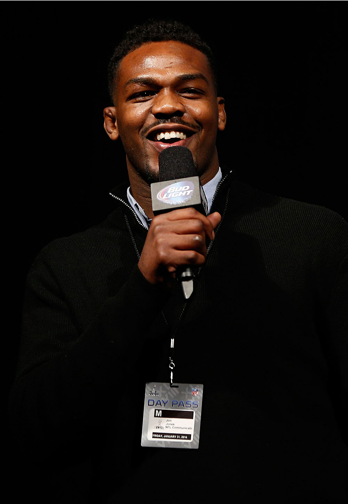 "NEWARK, NJ - JANUARY 31:  UFC light heavyweight champion Jon ""Bones"" Jones interacts with fans during a Q&A session before the UFC 169 weigh-in at the Prudential Center on January 31, 2014 in Newark, New Jersey. (Photo by Josh Hedges/Zuffa LLC/Zuffa LLC via Getty Images)"