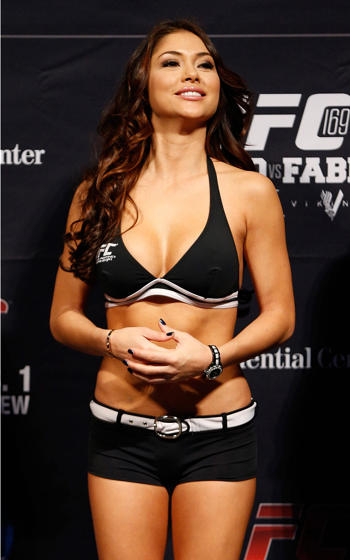 NEWARK, NJ - JANUARY 31:  UFC Octagon Girl Arianny Celeste stands on stage during the UFC 169 weigh-in at the Prudential Center on January 31, 2014 in Newark, New Jersey. (Photo by Josh Hedges/Zuffa LLC/Zuffa LLC via Getty Images)