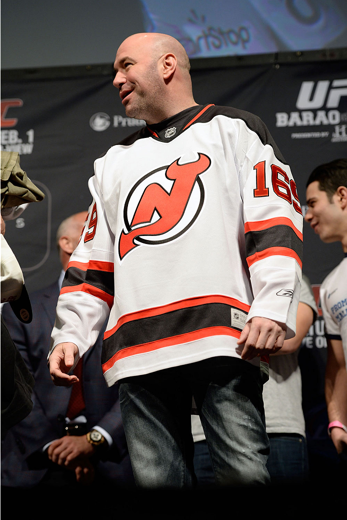 NEWARK, NJ - JANUARY 31:  UFC President Dana White stands on stage during the UFC 169 weigh-in event at the Prudential Center on January 31, 2014 in Newark, New Jersey. (Photo by Jeff Bottari/Zuffa LLC/Zuffa LLC via Getty Images)