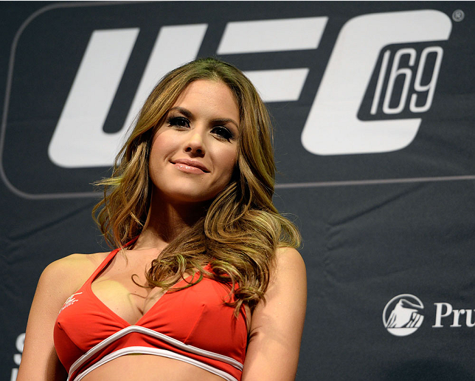 NEWARK, NJ - JANUARY 31:  UFC Octagon Girl Brittney Palmer stands on stage during the UFC 169 weigh-in event at the Prudential Center on January 31, 2014 in Newark, New Jersey. (Photo by Jeff Bottari/Zuffa LLC/Zuffa LLC via Getty Images)
