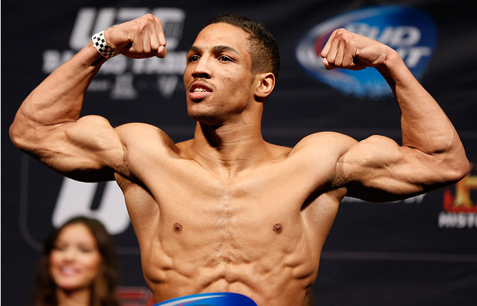 NEWARK, NJ - JANUARY 31:  Kevin Lee weighs in during the UFC 169 weigh-in at the Prudential Center on January 31, 2014 in Newark, New Jersey. (Photo by Josh Hedges/Zuffa LLC/Zuffa LLC via Getty Images)