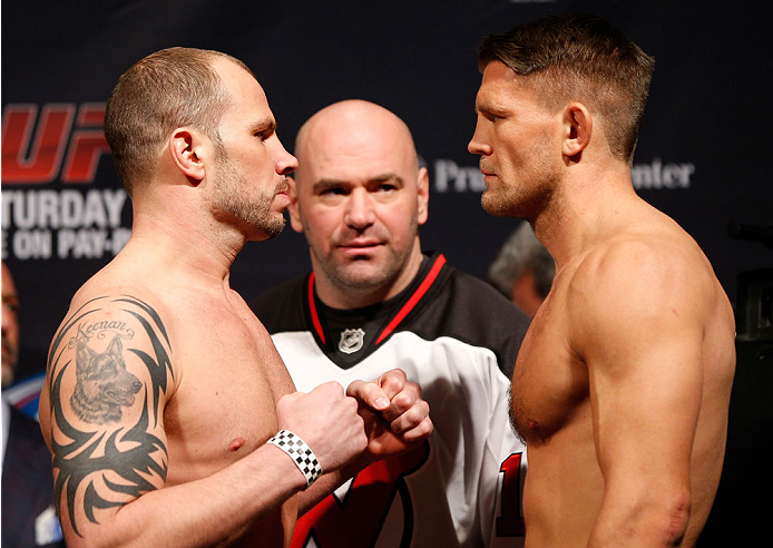 NEWARK, NJ - JANUARY 31:  (L-R) Opponents Nick Catone and Tom Watson face off during the UFC 169 weigh-in at the Prudential Center on January 31, 2014 in Newark, New Jersey. (Photo by Josh Hedges/Zuffa LLC/Zuffa LLC via Getty Images)