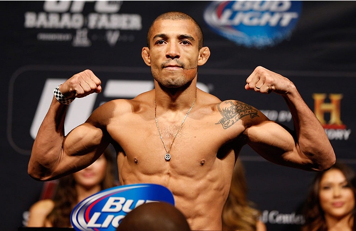 NEWARK, NJ - JANUARY 31:  Jose Aldo weighs in during the UFC 169 weigh-in at the Prudential Center on January 31, 2014 in Newark, New Jersey. (Photo by Josh Hedges/Zuffa LLC/Zuffa LLC via Getty Images)