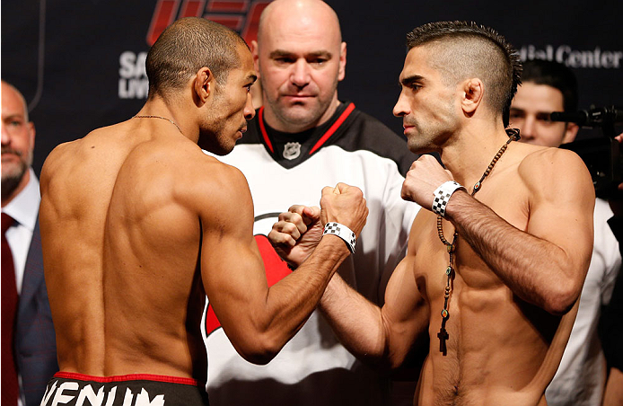 NEWARK, NJ - JANUARY 31:  (L-R) Opponents Jose Aldo and Ricardo Lamas face off during the UFC 169 weigh-in at the Prudential Center on January 31, 2014 in Newark, New Jersey. (Photo by Josh Hedges/Zuffa LLC/Zuffa LLC via Getty Images)