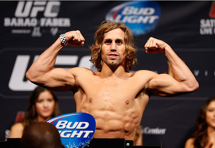 NEWARK, NJ - JANUARY 31:  Urijah Faber weighs in during the UFC 169 weigh-in at the Prudential Center on January 31, 2014 in Newark, New Jersey. (Photo by Josh Hedges/Zuffa LLC/Zuffa LLC via Getty Images)