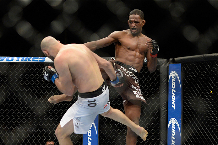NEWARK, NJ - FEBRUARY 1:  (R-L) Neil Magny kicks Gasan Umalatov in their welterweight fight during the UFC 169 event at the Prudential Center on January 31, 2014 in Newark, New Jersey. (Photo by Jeff Bottari/Zuffa LLC/Zuffa LLC via Getty Images)