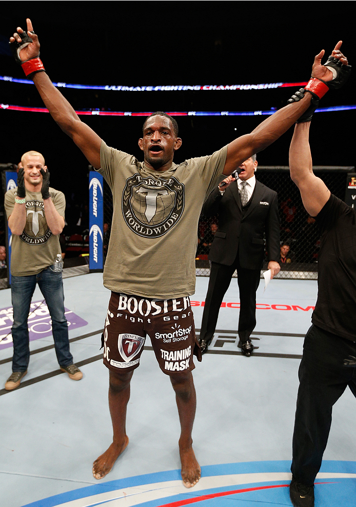 NEWARK, NJ - FEBRUARY 01:  Neil Magny reacts after his decision victory over Gasan Umalatov at the UFC 169 event inside the Prudential Center on February 1, 2014 in Newark, New Jersey.  (Photo by Josh Hedges/Zuffa LLC/Zuffa LLC via Getty Images)