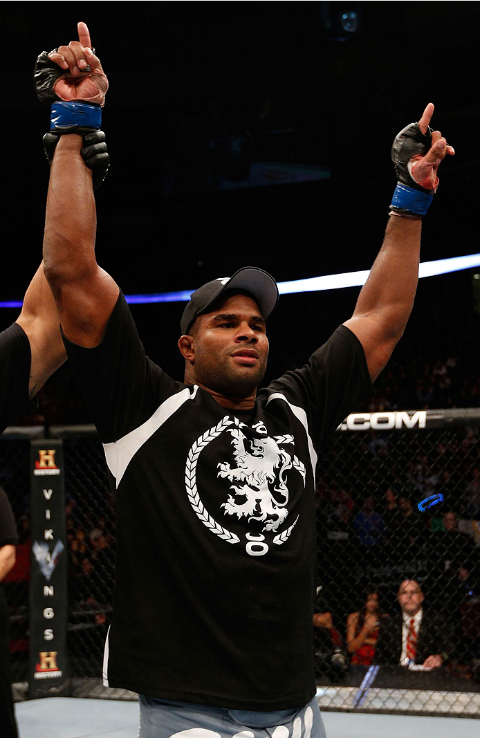 NEWARK, NJ - FEBRUARY 01:  Alistair Overeem reacts after his decision victory over Frank Mir in their heavyweight fight at the UFC 169 event inside the Prudential Center on February 1, 2014 in Newark, New Jersey. (Photo by Josh Hedges/Zuffa LLC/Zuffa LLC via Getty Images)