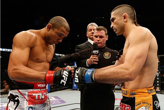NEWARK, NJ - FEBRUARY 01:  (L-R) Opponents Jose Aldo and Ricardo Lamas face off before their featherweight championship fight at the UFC 169 event inside the Prudential Center on February 1, 2014 in Newark, New Jersey. (Photo by Josh Hedges/Zuffa LLC/Zuffa LLC via Getty Images)