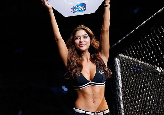 LAS VEGAS, NV - FEBRUARY 22:  UFC Octagon Girl Arianny Celeste introduces round one of Whittaker vs Thompson before their welterweight bout during UFC 170 inside the Mandalay Bay Events Center on February 22, 2014 in Las Vegas, Nevada. (Photo by Josh Hedges/Zuffa LLC/Zuffa LLC via Getty Images) *** Local Caption *** Arianny Celeste