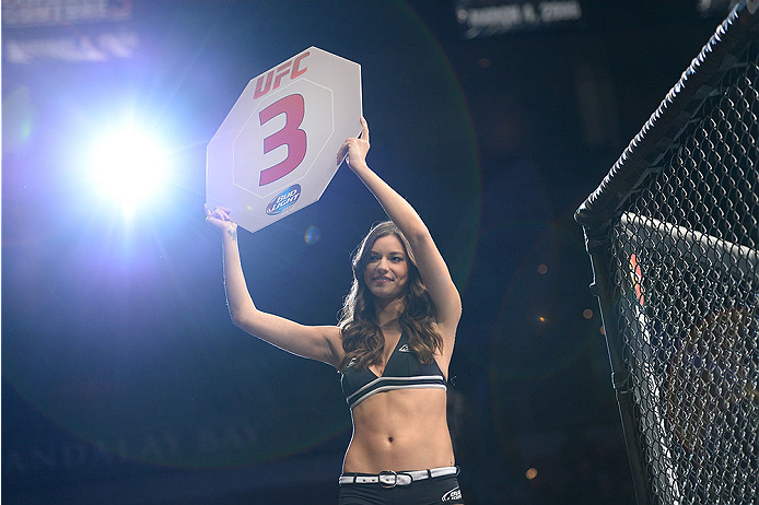 LAS VEGAS, NV - FEBRUARY 22:  UFC Octagon Girl Vanessa Hanson introduces the start of round three between Ernest Chavez and Yosdenis Cedeno during their lightweight bout during UFC 170 inside the Mandalay Bay Events Center on February 22, 2014 in Las Vegas, Nevada. (Photo by Jeff Bottari/Zuffa LLC/Zuffa LLC via Getty Images) *** Local Caption *** Vanessa Hanson