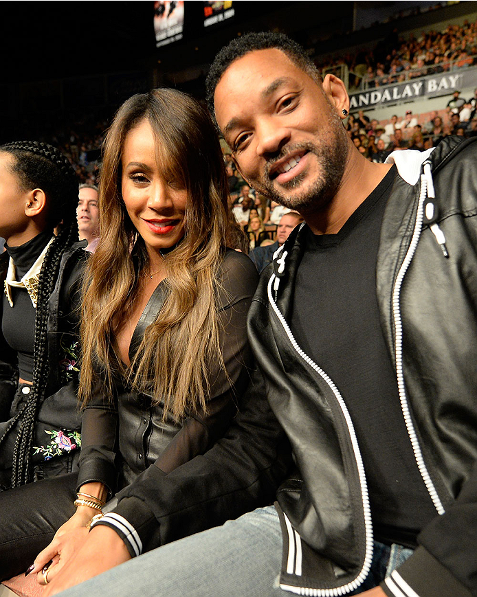 LAS VEGAS, NV - FEBRUARY 22:  (R-L) Actor Will Smith and actress Jada Pinkett Smith in attendance during UFC 170 inside the Mandalay Bay Events Center on February 22, 2014 in Las Vegas, Nevada. (Photo by Jeff Bottari/Zuffa LLC/Zuffa LLC via Getty Images) *** Local Caption *** Will Smith; Jada Pinkett Smith