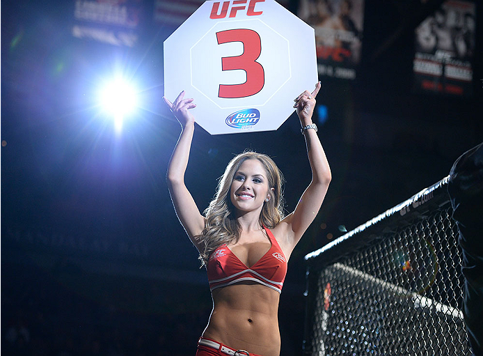 LAS VEGAS, NV - FEBRUARY 22:  UFC Octagon Girl Brittney Palmer introduces round three of Gibson vs Sterling in their bantamweight bout during UFC 170 inside the Mandalay Bay Events Center on February 22, 2014 in Las Vegas, Nevada. (Photo by Jeff Bottari/Zuffa LLC/Zuffa LLC via Getty Images) *** Local Caption *** Brittney Palmer