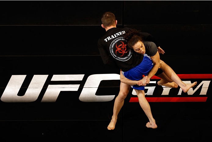 LAS VEGAS, NV - FEBRUARY 19:  Sara McMann holds an open training session for fans and media at the Mandalay Bay Events Center on February 19, 2014 in Las Vegas, Nevada. (Photo by Josh Hedges/Zuffa LLC/Zuffa LLC via Getty Images)