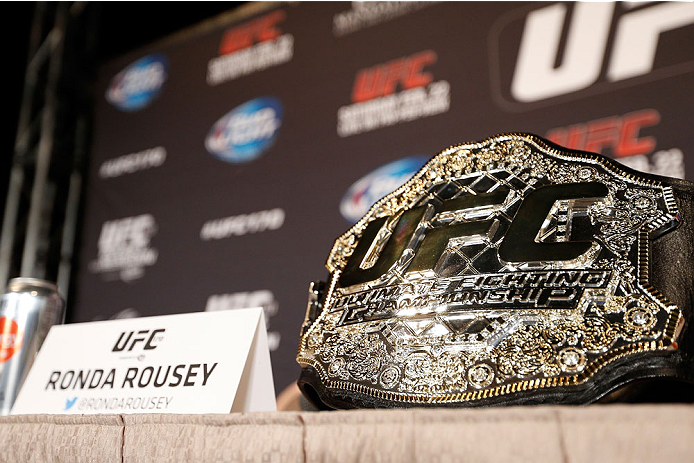 LAS VEGAS, NV - FEBRUARY 20:  Ronda Rousey's UFC women's bantamweight championship belt is seen sitting on a table before the final UFC 170 pre-fight press conference at the Mandalay Bay Resort and Casino on February 20, 2014 in Las Vegas, Nevada. (Photo by Josh Hedges/Zuffa LLC/Zuffa LLC via Getty Images)