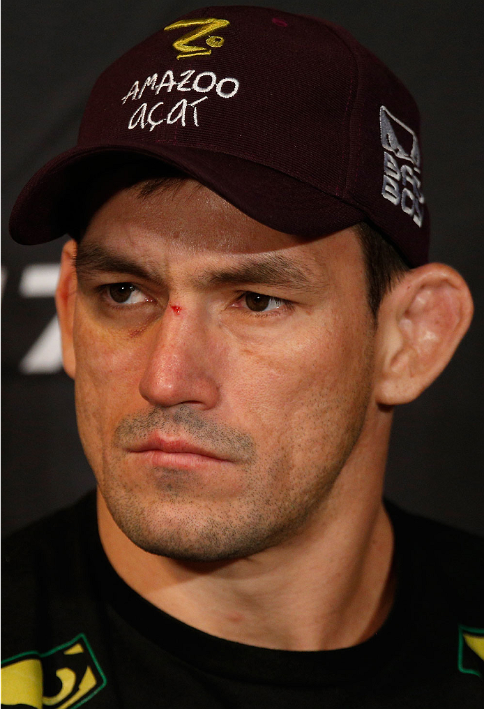 LAS VEGAS, NV - FEBRUARY 20:  Demian Maia interacts with media during the final UFC 170 pre-fight press conference at the Mandalay Bay Resort and Casino on February 20, 2014 in Las Vegas, Nevada. (Photo by Josh Hedges/Zuffa LLC/Zuffa LLC via Getty Images)