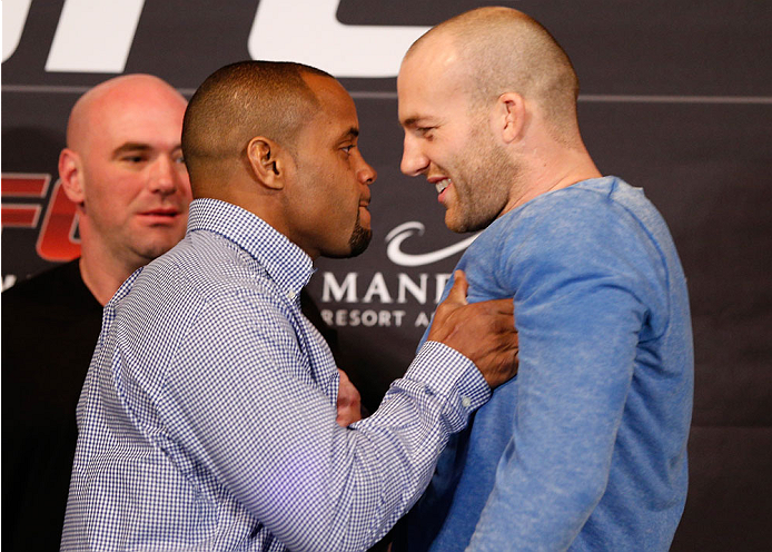LAS VEGAS, NV - FEBRUARY 20:  (L-R) Daniel Cormier shoves opponent Patrick Cummins during the final UFC 170 pre-fight press conference at the Mandalay Bay Resort and Casino on February 20, 2014 in Las Vegas, Nevada. (Photo by Josh Hedges/Zuffa LLC/Zuffa LLC via Getty Images)