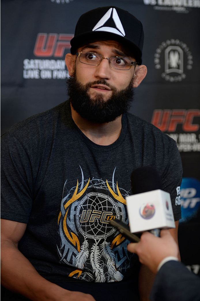 DALLAS, TX - MARCH 13:  Johny Hendricks speaks with the media during the UFC 171 Ultimate Media Day at American Airlines Center on March 13, 2014 in Dallas, Texas. (Photo by Jeff Bottari/Zuffa LLC/Zuffa LLC via Getty Images)