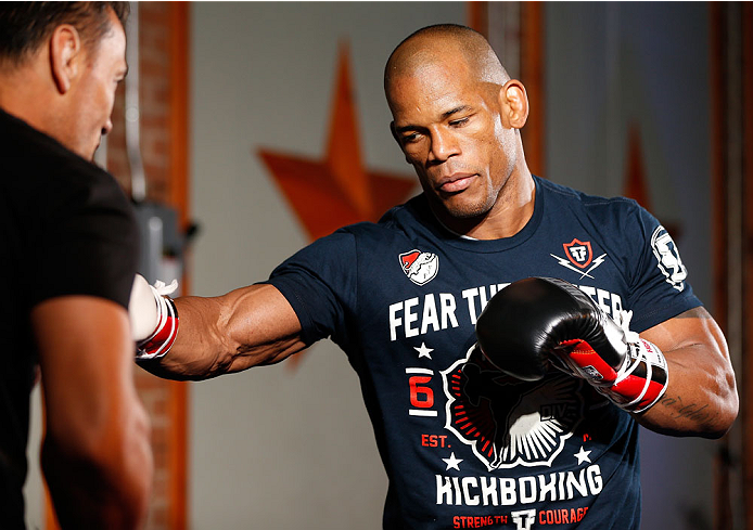 DALLAS, TX - MARCH 12:  Hector Lombard holds an open training session for fans and media at Gilley's Dallas on March 12, 2014 in Dallas, Texas. (Photo by Josh Hedges/Zuffa LLC/Zuffa LLC via Getty Images)