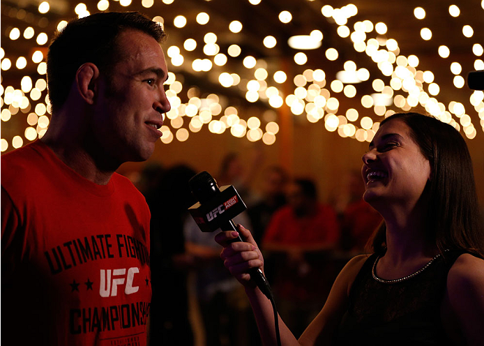 DALLAS, TX - MARCH 12:  (L-R) Jake Shields is interviewed by UFC reporter Megan Olivi after an open training session for fans and media at Gilley's Dallas on March 12, 2014 in Dallas, Texas. (Photo by Josh Hedges/Zuffa LLC/Zuffa LLC via Getty Images)