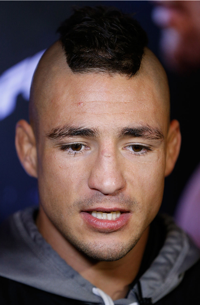 DALLAS, TX - MARCH 12:  Diego Sanchez interacts with media before an open training session for fans and media at Gilley's Dallas on March 12, 2014 in Dallas, Texas. (Photo by Josh Hedges/Zuffa LLC/Zuffa LLC via Getty Images)