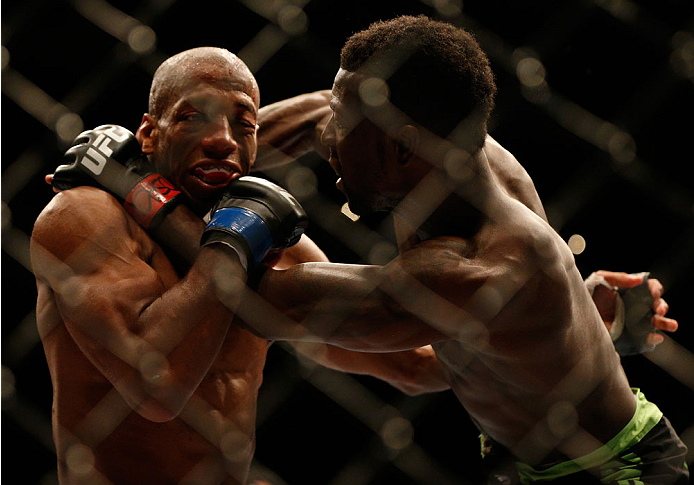 BALTIMORE, MD - APRIL 26:  (R-L) Chris Beal punches Patrick Williams in their bantamweight bout during the UFC 172 event at the Baltimore Arena on April 26, 2014 in Baltimore, Maryland. (Photo by Josh Hedges/Zuffa LLC/Zuffa LLC via Getty Images)