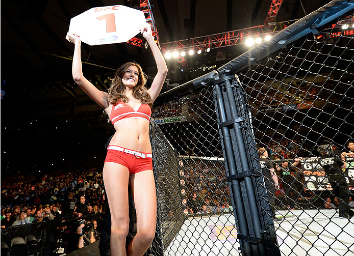 BALTIMORE, MD - APRIL 26:  UFC Octagon Girl Vanessa Hanson introduces a round during the UFC 172 event at the Baltimore Arena on April 26, 2014 in Baltimore, Maryland. (Photo by Josh Hedges/Zuffa LLC/Zuffa LLC via Getty Images)