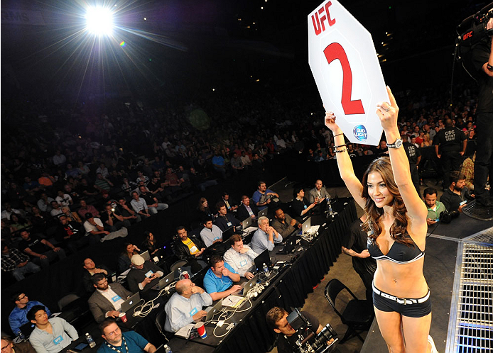 BALTIMORE, MD - APRIL 26:  UFC Octagon Girl Arianny Celeste introduces a round during the UFC 172 event at the Baltimore Arena on April 26, 2014 in Baltimore, Maryland. (Photo by Patrick Smith/Zuffa LLC/Zuffa LLC via Getty Images)
