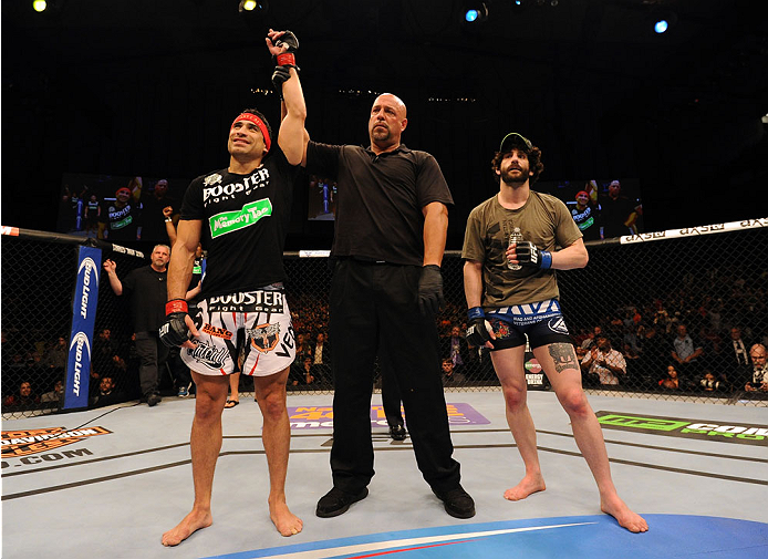 BALTIMORE, MD - APRIL 26:  Danny Castillo (L) reacts after his knockout victory over Charlie Brenneman in their lightweight bout during the UFC 172 event at the Baltimore Arena on April 26, 2014 in Baltimore, Maryland. (Photo by Patrick Smith/Zuffa LLC/Zuffa LLC via Getty Images)
