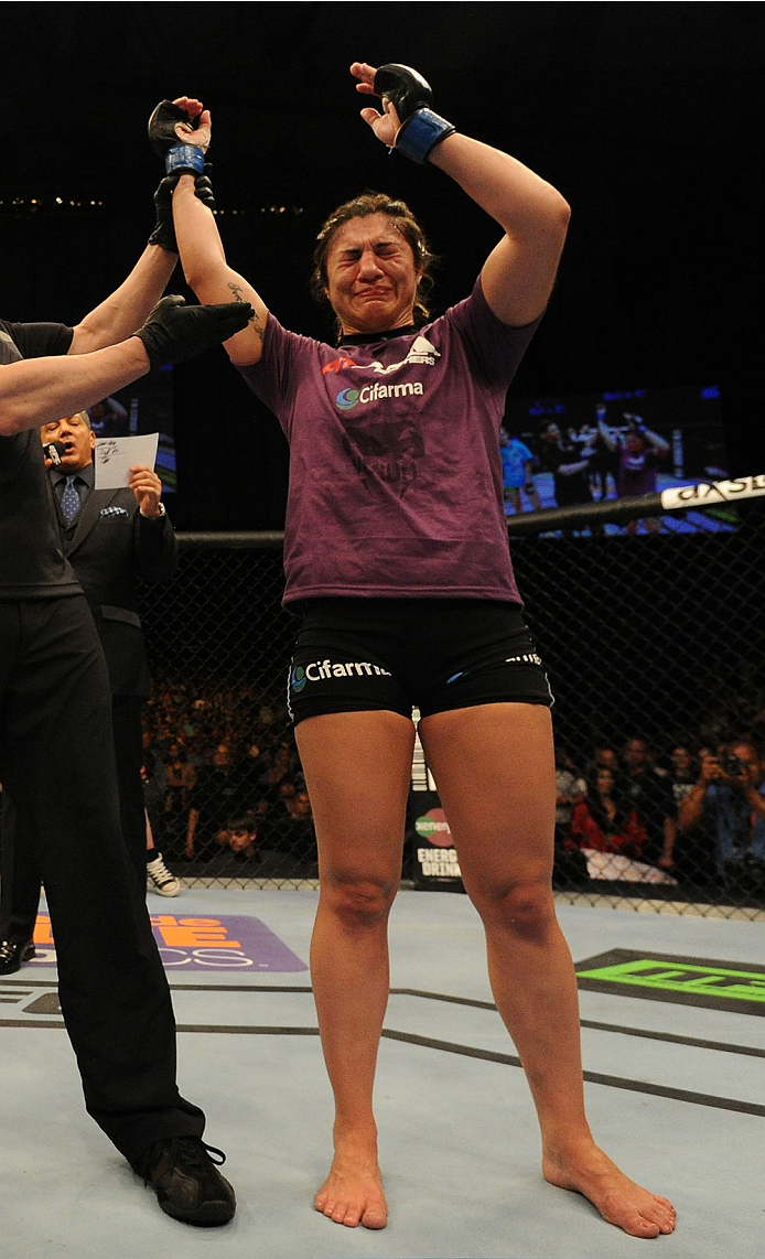 BALTIMORE, MD - APRIL 26:  Bethe Correia reacts after her decision victory over Jessamyn Duke in their women's bantamweight bout during the UFC 172 event at the Baltimore Arena on April 26, 2014 in Baltimore, Maryland. (Photo by Patrick Smith/Zuffa LLC/Zuffa LLC via Getty Images)