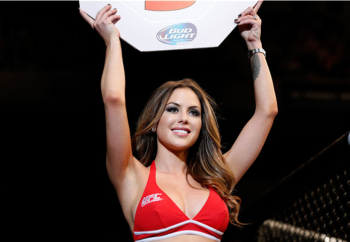 BALTIMORE, MD - APRIL 26:  UFC Octagon Girl Brittney Palmer introduces a round during the UFC 172 event at the Baltimore Arena on April 26, 2014 in Baltimore, Maryland. (Photo by Josh Hedges/Zuffa LLC/Zuffa LLC via Getty Images)