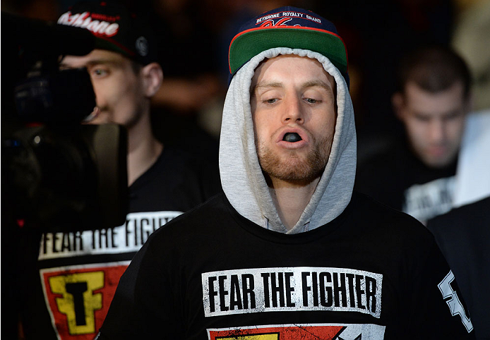 BALTIMORE, MD - APRIL 26:  Timothy Elliott enters the arena before his bantamweight bout against Joseph Benavidez during the UFC 172 event at the Baltimore Arena on April 26, 2014 in Baltimore, Maryland. (Photo by Patrick Smith/Zuffa LLC/Zuffa LLC via Getty Images)