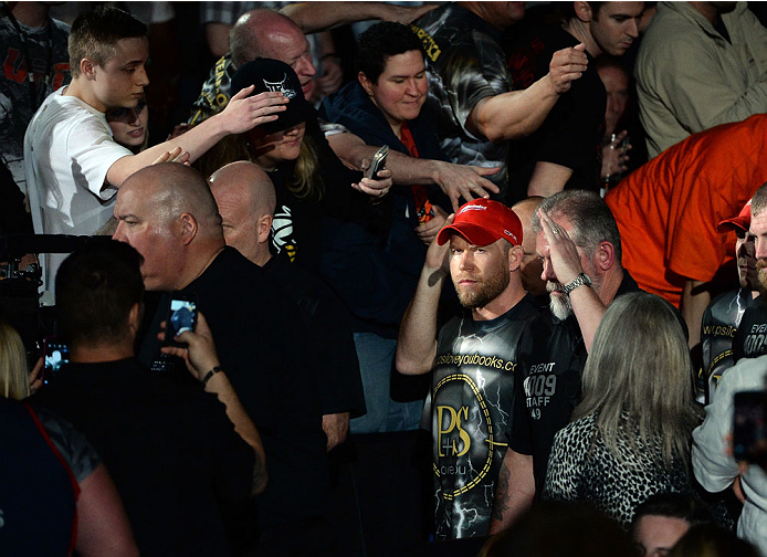 BALTIMORE, MD - APRIL 26: Tim Boetsch enters the arena before his middleweight bout against Luke Rockhold during the UFC 172 event at the Baltimore Arena on April 26, 2014 in Baltimore, Maryland. (Photo by Patrick Smith/Zuffa LLC/Zuffa LLC via Getty Images)