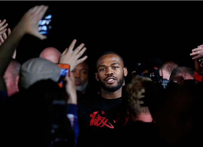 "BALTIMORE, MD - APRIL 26:  Jon ""Bones"" Jones enters the arena before his light heavyweight championship bout against Glover Teixeira during the UFC 172 event at the Baltimore Arena on April 26, 2014 in Baltimore, Maryland. (Photo by Josh Hedges/Zuffa LLC/Zuffa LLC via Getty Images)"