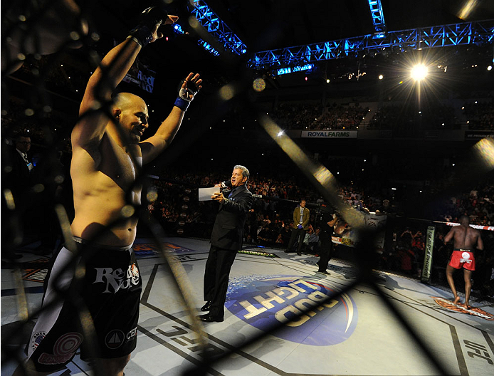 "BALTIMORE, MD - APRIL 26:   Glover Teixeira is introduced before his light heavyweight championship bout against Jon ""Bones"" Jones during the UFC 172 event at the Baltimore Arena on April 26, 2014 in Baltimore, Maryland. (Photo by Patrick Smith/Zuffa LLC/Zuffa LLC via Getty Images)"